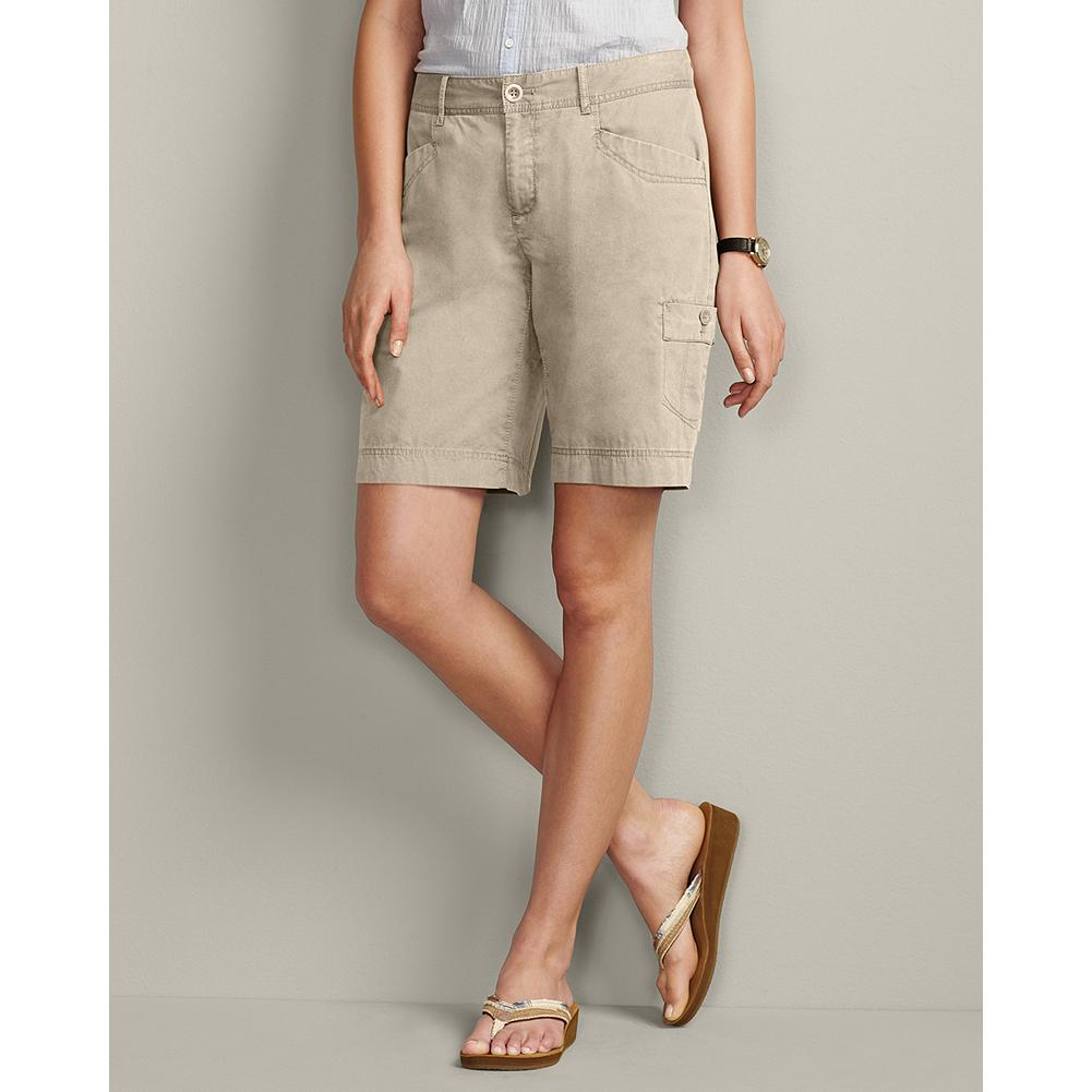 "Eddie Bauer Curvy 10"" Textured Cotton Cargo Shorts - Classic cargo shorts, built especially for curvy figures. The lightweight textured cotton has a peached finish for softness, which is further enhanced by a special prewash. The mini-herringbone fabric is pigment-dyed to create unique highs and lows of color that weather beautifully. - $14.99"