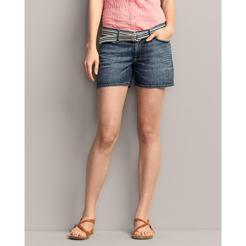 "Eddie Bauer Boyfriend 4"" Denim Shorts - Cotton with a touch of spandex for stretch, our Boyfriend Denim Shorts have a distinct medium dark blue wash, created with hand sanding, grinding, and whiskering. Also available in a 6"" version. - $14.99"