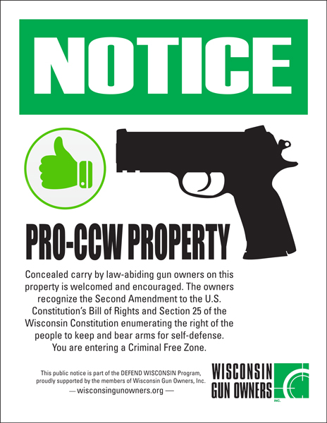 Entertainment Wisconsin Pro-CCW Concealed Carry Sign