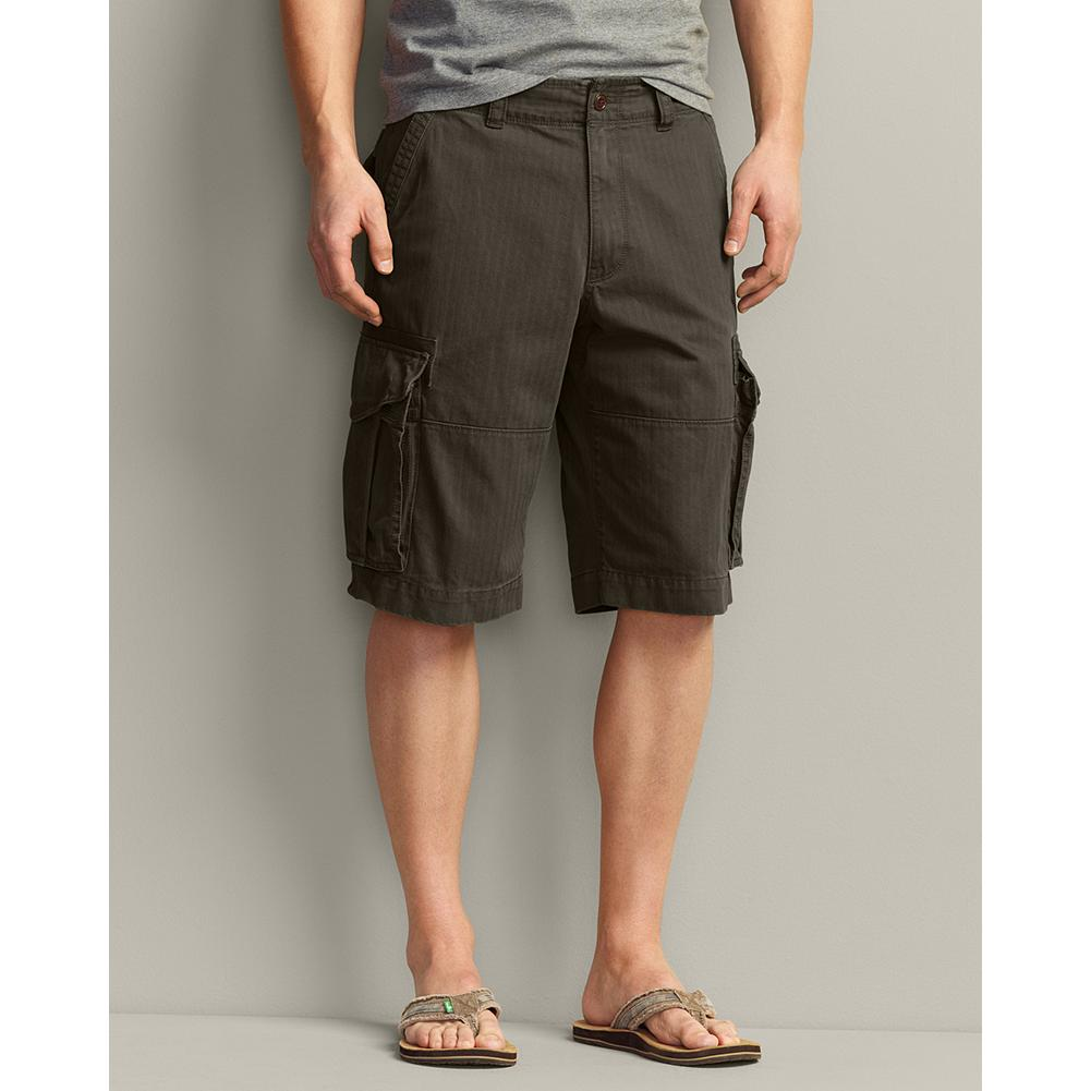 Fitness Eddie Bauer Ultimate Cargo Shorts - Expedition-worthy cargo shorts with large-capacity pockets to carry all your essentials. Made of rugged 10.8 oz. cotton canvas in a subtle herringbone weave, they have canvas reinforcements around the pockets to eliminate wear, and felled seams with double-needle topstitching for added strength. Military-grade buttons complete the bombproof construction. - $29.99