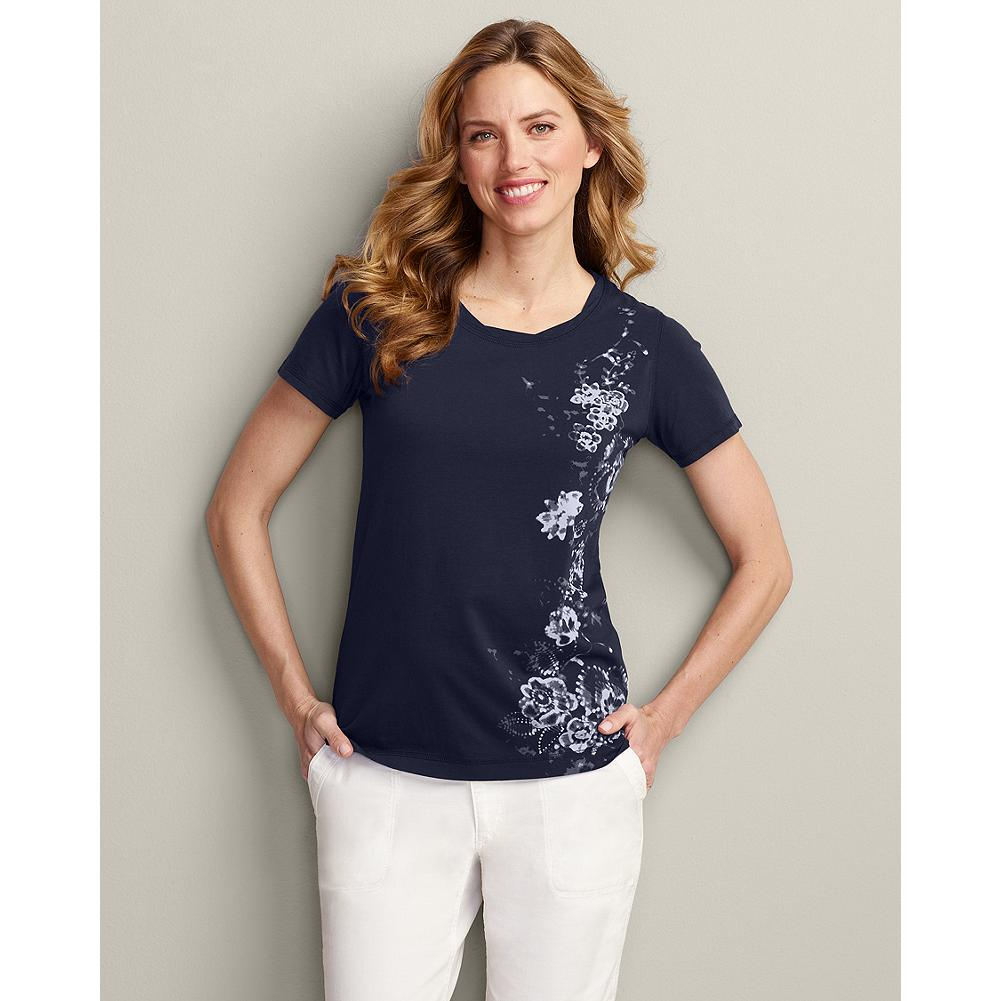 Eddie Bauer Twist-Neck Graphic T-Shirt - Soft rope trim at the neckline and a spray of floral graphics raise the fun factor of our easy, scoop-neck T-shirt. - $9.99