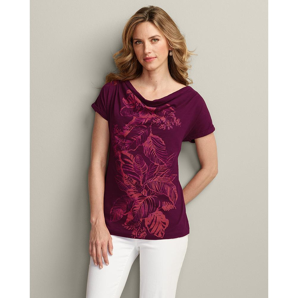 Eddie Bauer Leaf Print T-Shirt - A flattering cowl neckline and rolled dolman sleeves give this easy-going T-shirt a decidedly feminine silhouette. - $9.99