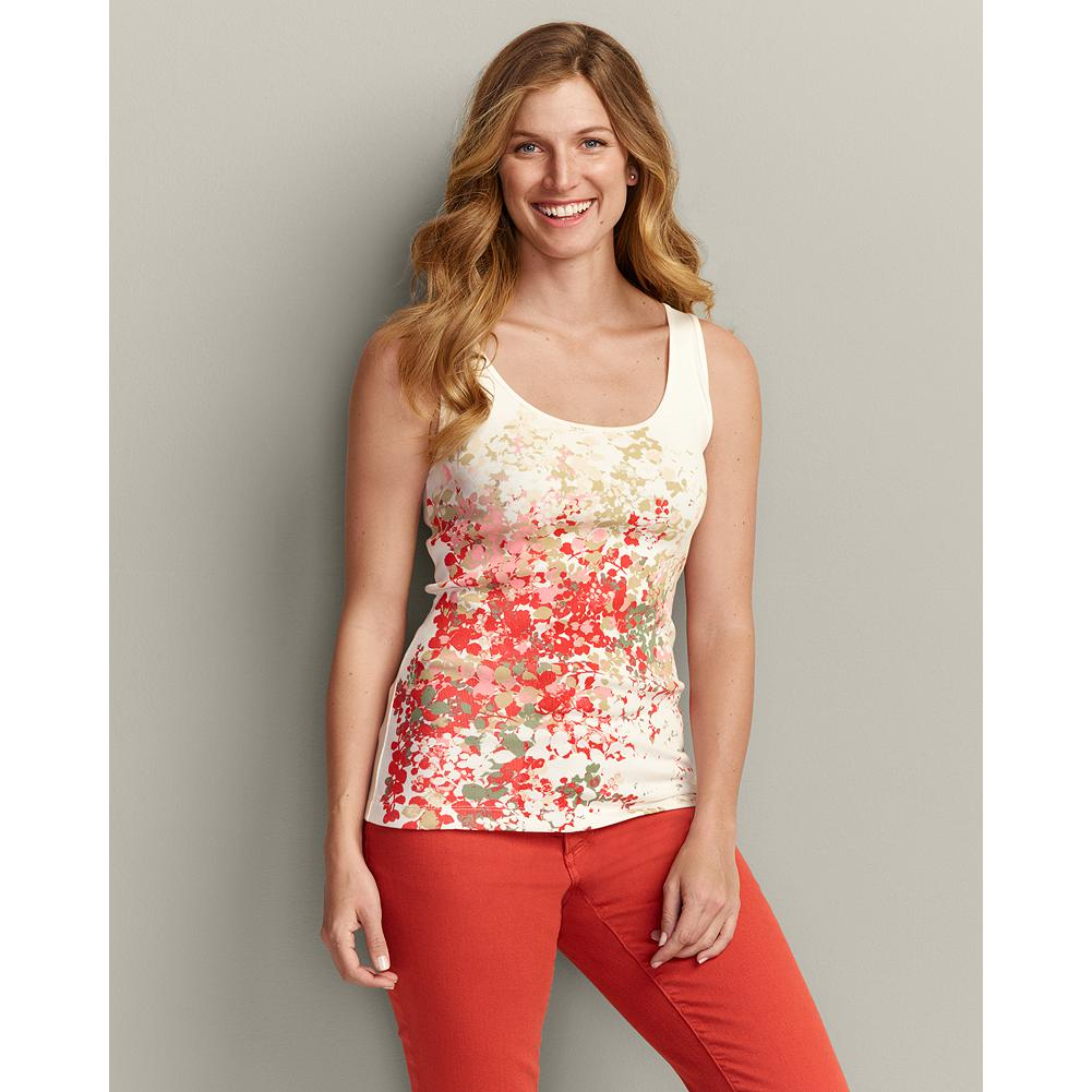 Surf Eddie Bauer Favorite Tank Top - Botanical - Made of soft, ribbed cotton with a touch of spandex for shape retention, our tank tops will keep you comfortable all summer. - $6.99
