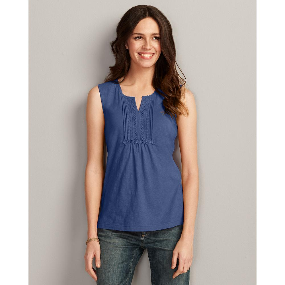 Surf Eddie Bauer Split-Neck Pintuck Tank Top - Lightweight, cool, and feminine, our cotton tank top has lace accents at the split neckline and front placket. Pintucks at the center front create additional texture and dimension. - $14.99