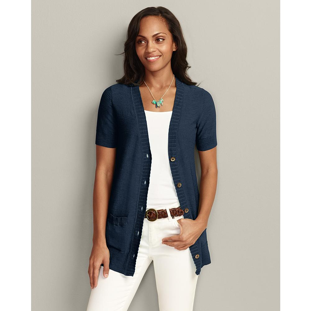 Eddie Bauer Short Sleeve San Juan Cardigan - Graceful lines and simple accents create a sweater versatile enough to wear with everything from capris to casual dresses. Layered ribbing trims the neckline and front placket, while finer ribs accent the cuffs, hem and pocket tops. The ideal summer layer for cooler times of the day. - $14.99