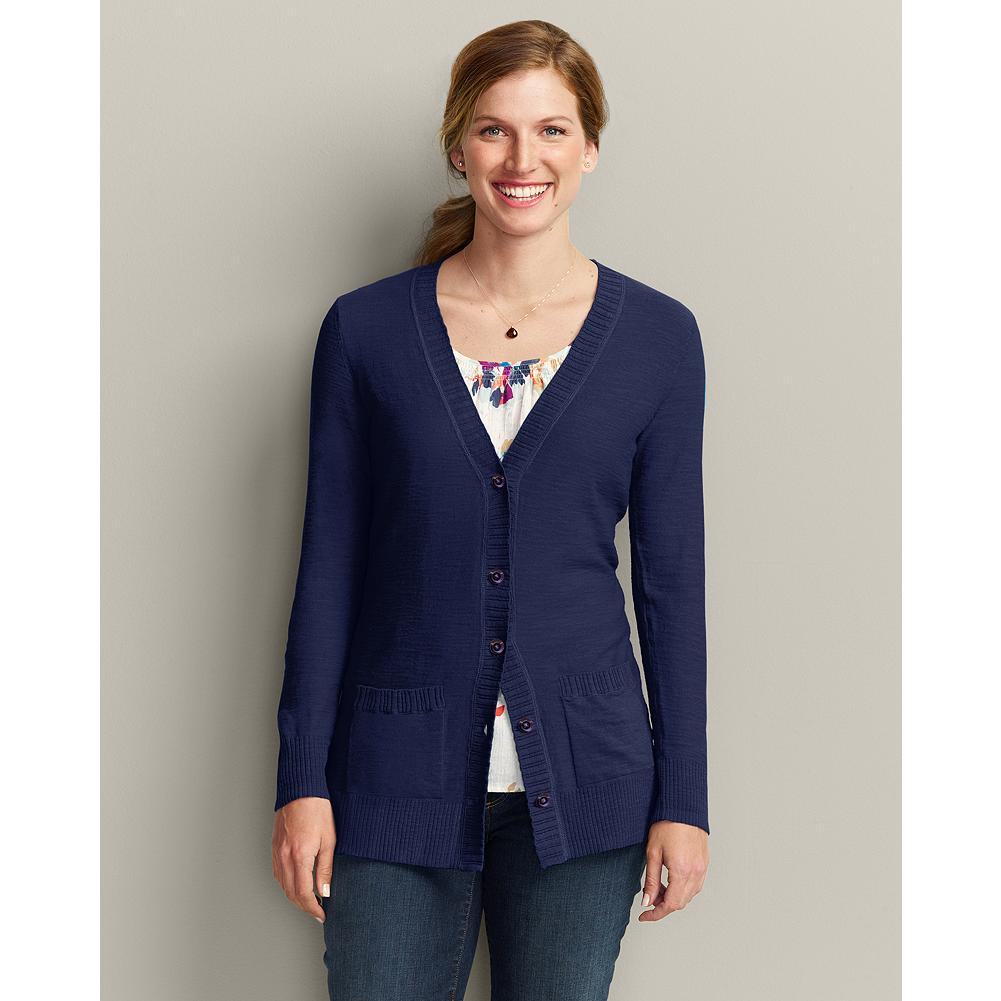Eddie Bauer Long Sleeve San Juan Cardigan - Durable construction and unique details make our San Juan Cardigan a summer layering essential in six rich colors. Layered ribbing trims the neckline and front placket of this lightweight, 100% cotton sweater. Finer ribs accent the patch pockets, cuffs, and hem. - $19.99
