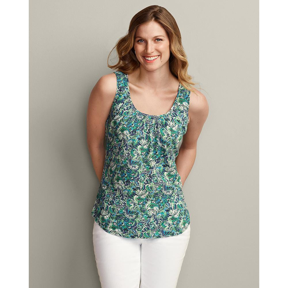 Surf Eddie Bauer Smocked Print Tank Top - Custom-designed paisley and floral prints accent the cool cotton gauze of our tank top, and the colors pair back perfectly with our San Juan Cardigans. Decorative smocking needlework creates three rows of delicate honeycombed patterns at the front neckline. - $14.99