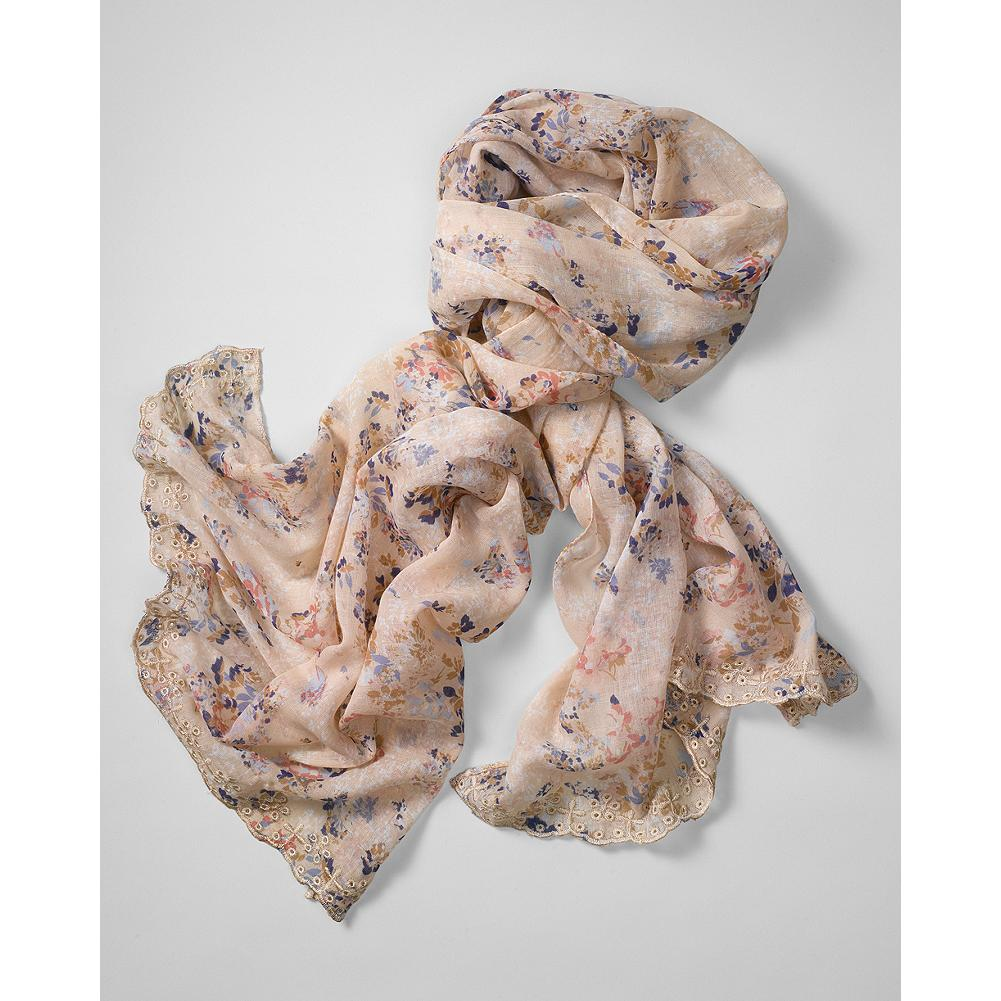 Entertainment Eddie Bauer Eyelet Edge Floral Scarf - Lightweight and summer-perfect, this pretty scarf features a delicate floral print and scalloped eyelet edge details. - $19.99