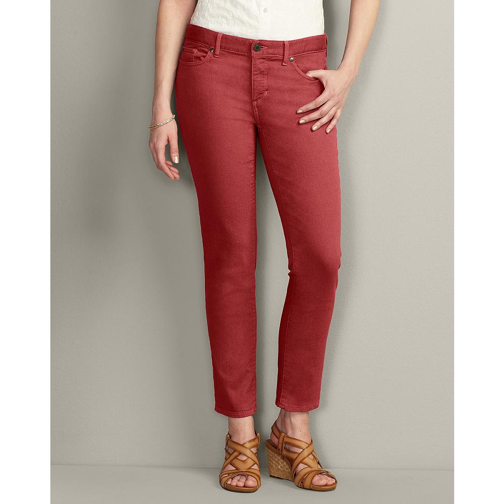 Entertainment Eddie Bauer Slightly Curvy Color Denim Ankle-Length Jeans - Over-dyeing gives our slightly curvy denim ankle-length jeans rich, saturated color. The flattering straight leg shape not only looks terrific, it feels great too. - $14.99