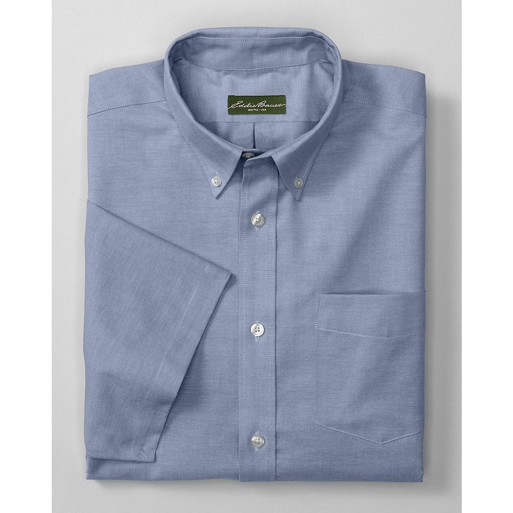 Entertainment Eddie Bauer Relaxed Fit Short Sleeve Wrinkle-Free Oxford Cloth Shirt - Solid - A lot of shirts that are treated to resist wrinkles lose their breathability in the process. Not so our oxford cloth shirt. It's made with our ComfortCloth-pure cotton that's both wrinkle-free and breathable, and even moisture-wicking, for all-day comfort at home, in the office, or on the road. Guaranteed to hold its wrinkle resistance, shape and color through 50 washes. Also available in a Pattern version. - $29.99