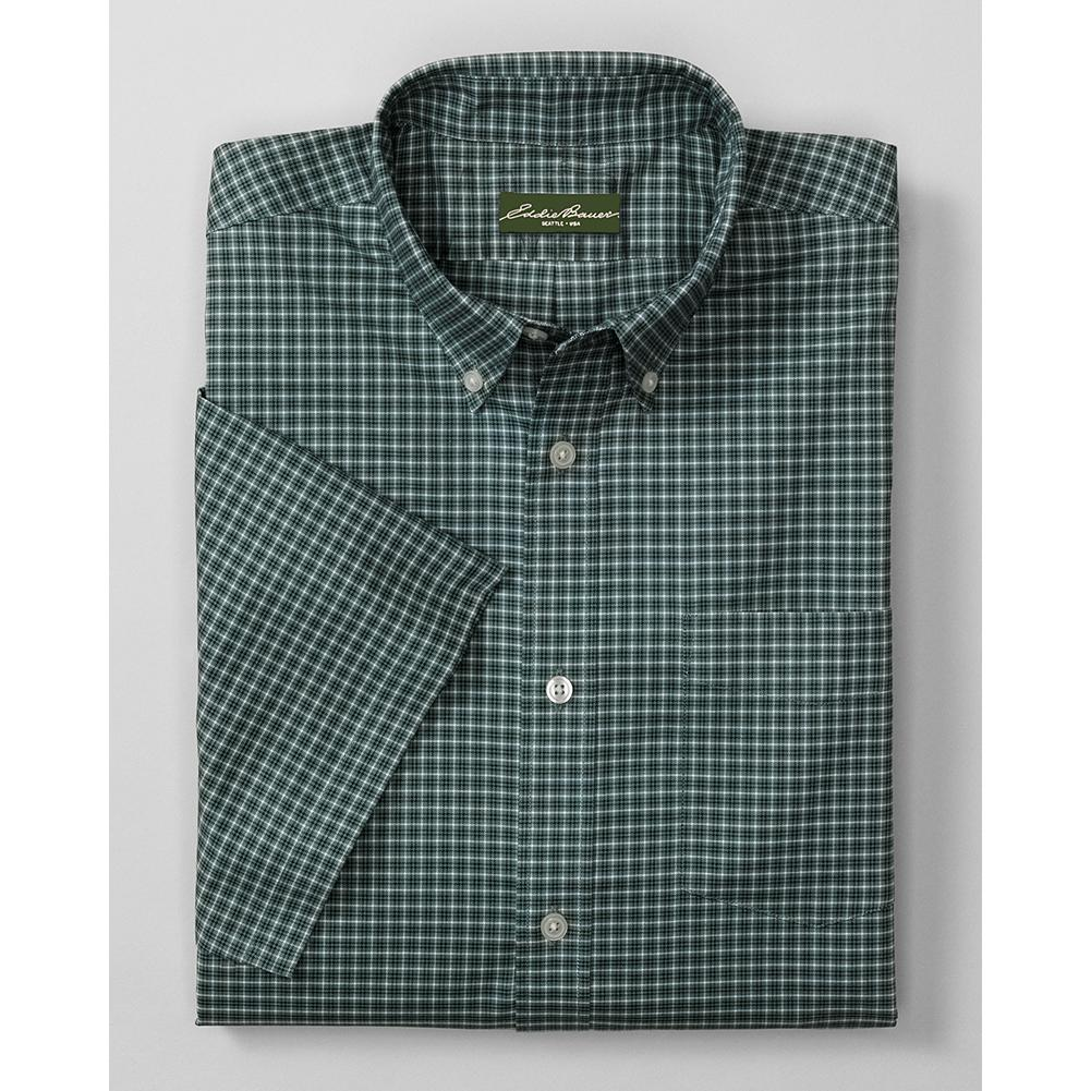 Entertainment Eddie Bauer Relaxed Fit Short Sleeve Wrinkle-Free Oxford Cloth Shirt - Pattern - A lot of shirts that are treated to resist wrinkles lose their breathability in the process. Not so our oxford cloth shirt. It's made with our ComfortCloth-pure cotton that's both wrinkle-free and breathable, and even moisture-wicking, for all-day comfort at home, in the office, or on the road. Guaranteed to hold its wrinkle resistance, shape and color through 50 washes. Also available in a solid-color version. - $19.99