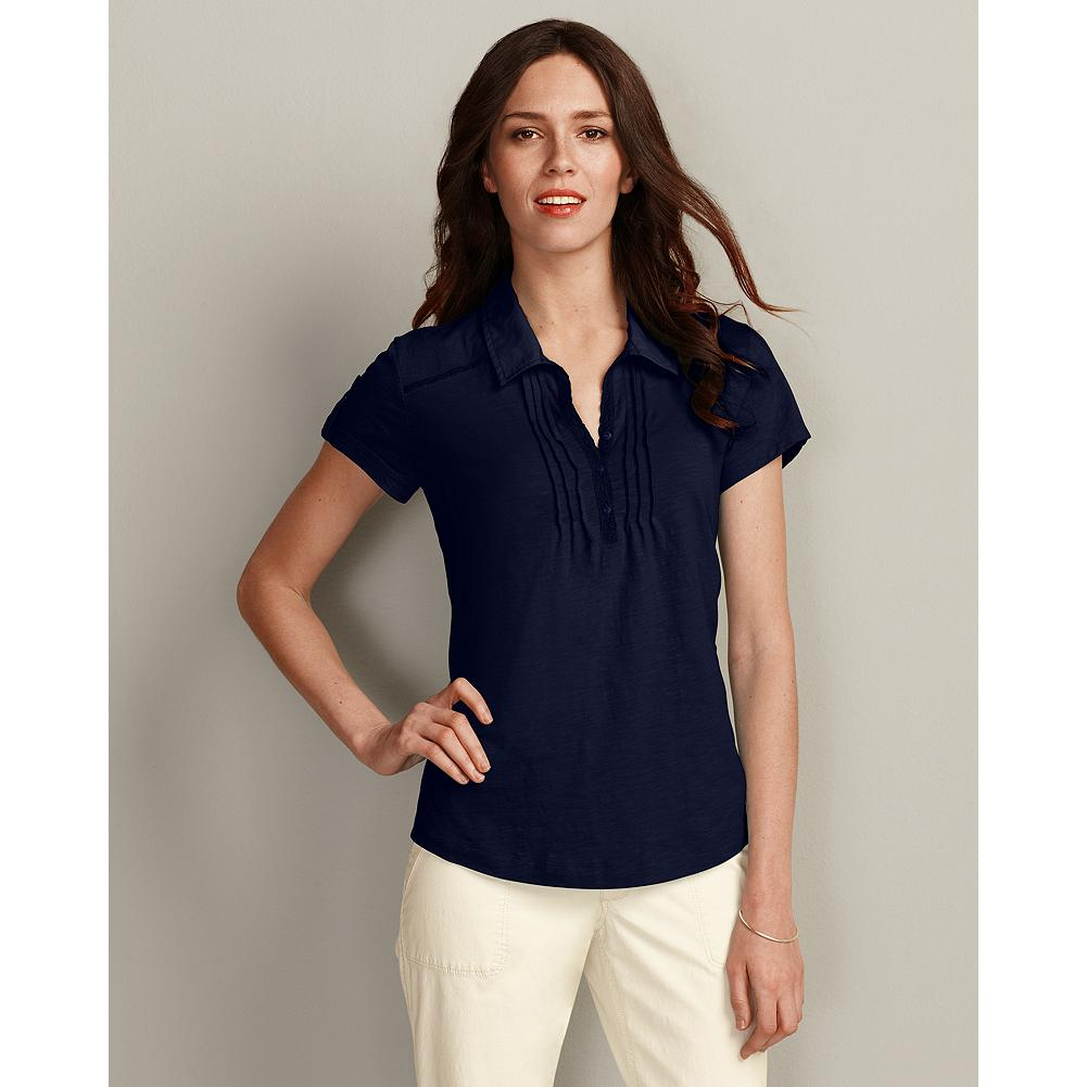 Eddie Bauer Pintuck Polo Shirt - We've updated the classic polo shirt with several summer-ready features. First, there's the soft, slub cotton jersey, chosen for its unmistakable comfort and subtle texture. Then we added pintuck detailing and a touch of lace, and voila-instant, simple charm. - $14.99