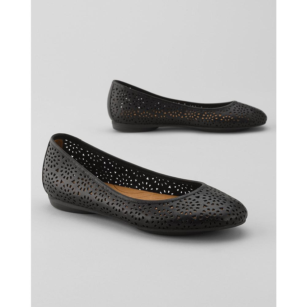 Entertainment Indigo by Clarks Plush Bea Ballet Flats - These stylish flats feature perforated detailing in the supple leather uppers. Gel pad bottoms offer exceptional comfort. Flexible, durable rubber sole. Imported. - $49.99