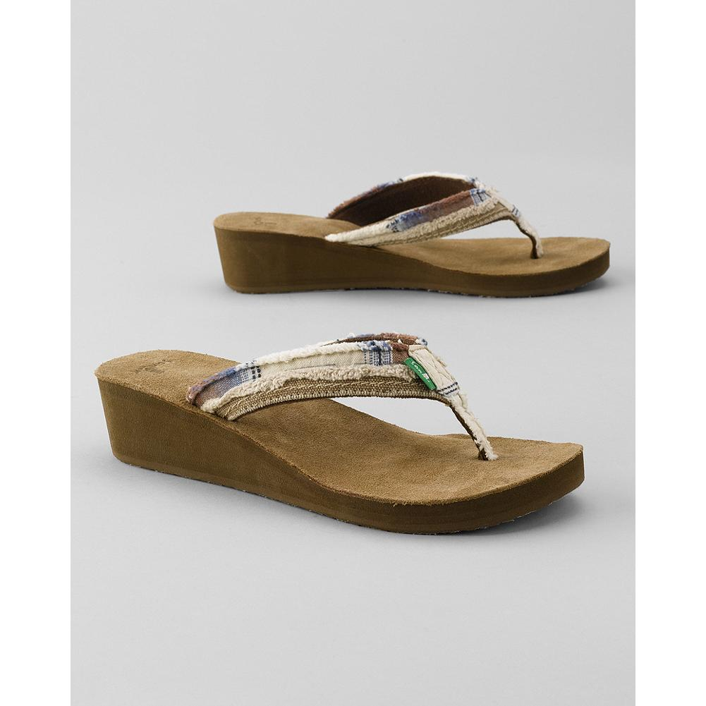 Surf Sanuk Fraid Wedge Flip Flops - This casual flip-flop style sandal has a frayed, two-layer canvas strap. - $29.99