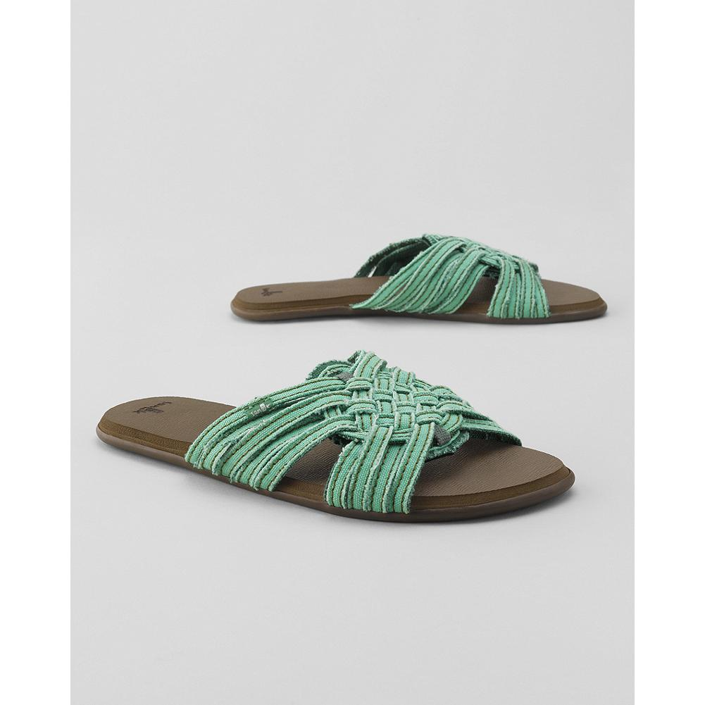 Entertainment Sanuk Girlie Siesta Slide Sandals - Sanuk's ultra-comfy slide sandals feature a cool canvas upper and a supersoft, high-rebound molded footbed for all-day comfort. Perfect for the beach and beyond. - $19.99
