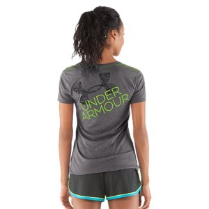 Fitness Our Charged Cotton(R) Undeniable graphic T's are built from a super smart tri-blend fabric. So not only do they feel amazingly soft and comfortable, they work just as hard-wicking sweat to the surface to keep you drier than ever. We're not saying you need to ditch all your ordinary cotton T-shirts, but we're not saying you shouldn't either. Cotton-rich tri-blend fabric has a soft, athletic feel for superior comfort & performanceSignature Moisture Transport System wicks sweat to keep you dry and lightLightweight, 4-way stretch construction improves mobility and maintains shapeAnti-microbial technology eliminates odors to keep your gear fresher, longerDeep V-neck collar & slimmer fitted fit deliver a sleeker, more feminine silhouetteCross-dyed yarns details combines different colors for a unique look & feelContrast neck tape & seams for a surprise pop of colorUnique grin thru logo on back 3.83 oz. Cotton/Polyester/RayonImported - $18.99