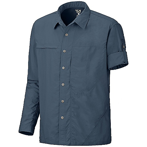 On Sale. Free Shipping. Mountain Hardwear Men's Canyon Long Sleeve Shirt DECENT FEATURES of the Mountain Hardwear Men's Canyon Long Sleeve Shirt Seams rotated away from pressure points for comfort under a pack Flip-up sun protection collar Mesh back and side panels for ventilation Zip map pocket Sleeve roll-up tab for quick fit adjustments The SPECS Average Weight: 9 oz / 242 g Centre Back Length: 29in. / 74 cm Body: Desert Cloth 70% nylon, 30% polyester Panel: Wicked Taper Mesh 100% polyester - $47.99