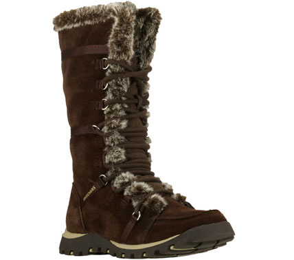 Keep your style hot in SKECHERS Grand Jams-Unlimited boot.  Suede upper in a cool weather boot style with a lace up front and side half zipper. - $80.00
