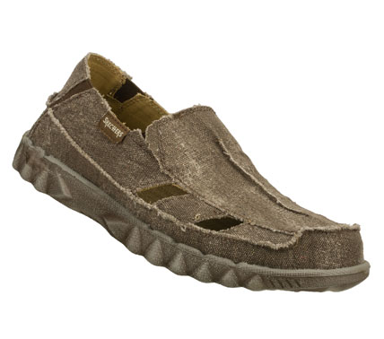 Surf Achieve a perfect state of relaxation with the SKECHERS Tride - Oran shoe.  Soft distressed canvas fabric upper in a slip on casual surf loafer beach moc with stitching and overlay accents. - $39.00