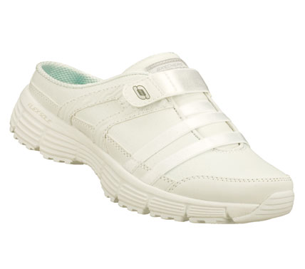 Entertainment Start your day right by kicking on the SKECHERS Agility - Kick Off shoe.  Leather and synthetic upper in a slip on sporty casual sneaker clog with stitching; overlay and perforation accents. - $60.00