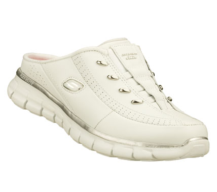 Easily upgrade your star status with the SKECHERS Synergy - Elite Glam shoe.  Smooth leather and synthetic upper in a slip on sporty casual low backed sneaker clog with stitching; overlay and perforation accents. Memory Foam insole. - $58.00