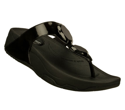 Surf Glamour and easy wearing comfort come together nicely in the SKECHERS Relaxed Fit: Tone-ups - Hot Mod sandal.  Shiny patent faux leather upper in a dressy casual thong sandal with comfort footbed and faceted gem details. - $45.00