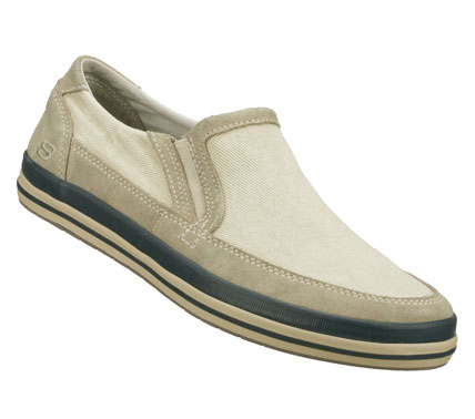 Ease right into laid-back cool style with the SKECHERS Relaxed Fit: Diamondback - Sione shoe.  Soft faded canvas fabric and soft suede upper in a slip on casual comfort loafer with stitching and overlay accents. - $59.00