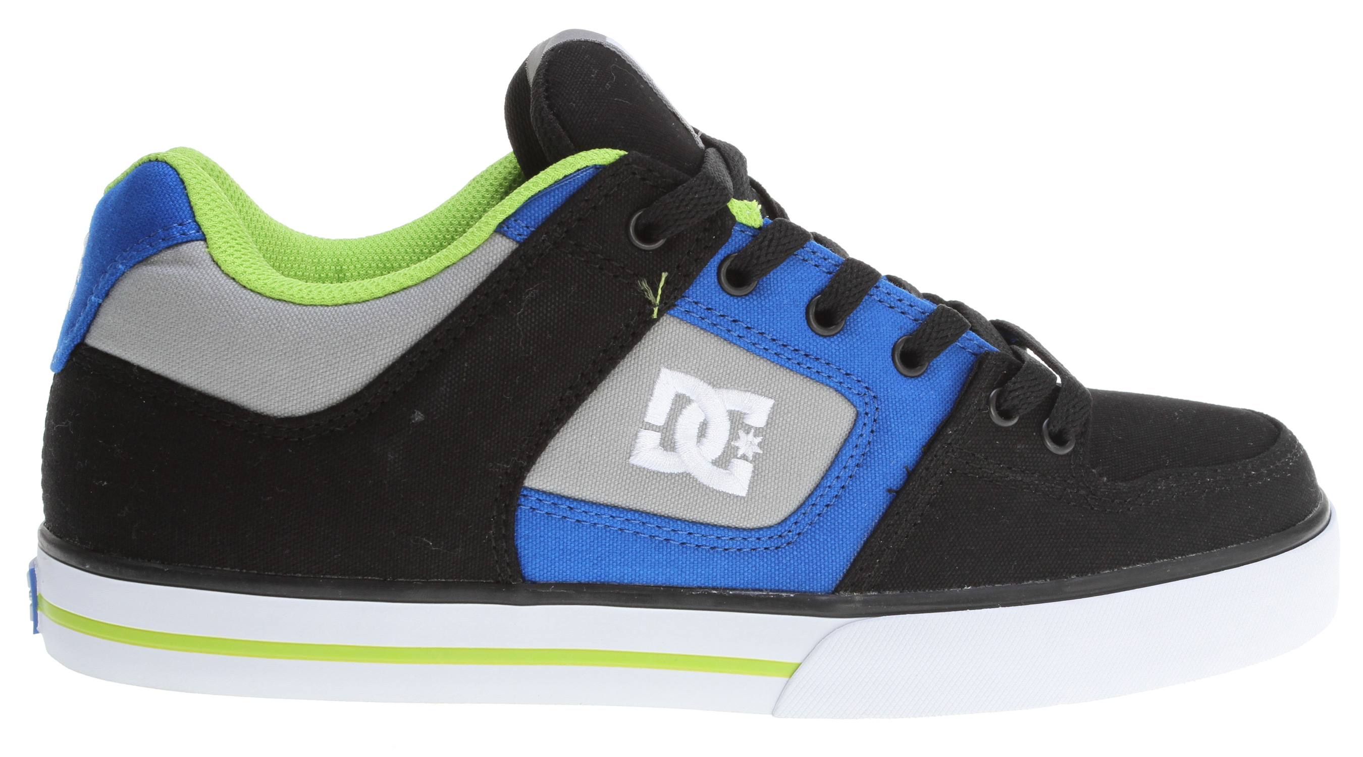 "Skateboard Key Features of the DC Pure TX Skate Shoes: All Canvas Upper Foam Padded Tongue And Collar For Added Comfort And Support Vent Holes In Upper For Breathability Metal Eyelets Performance Wrap Cup Sole, Our Exclusive Construction Technique DGT - Dynamic Grip Technology Abrasion-Resistant Sticky Rubber Outsole With DC's Trademarked ""Pill Pattern"" Bottom. - $41.95"