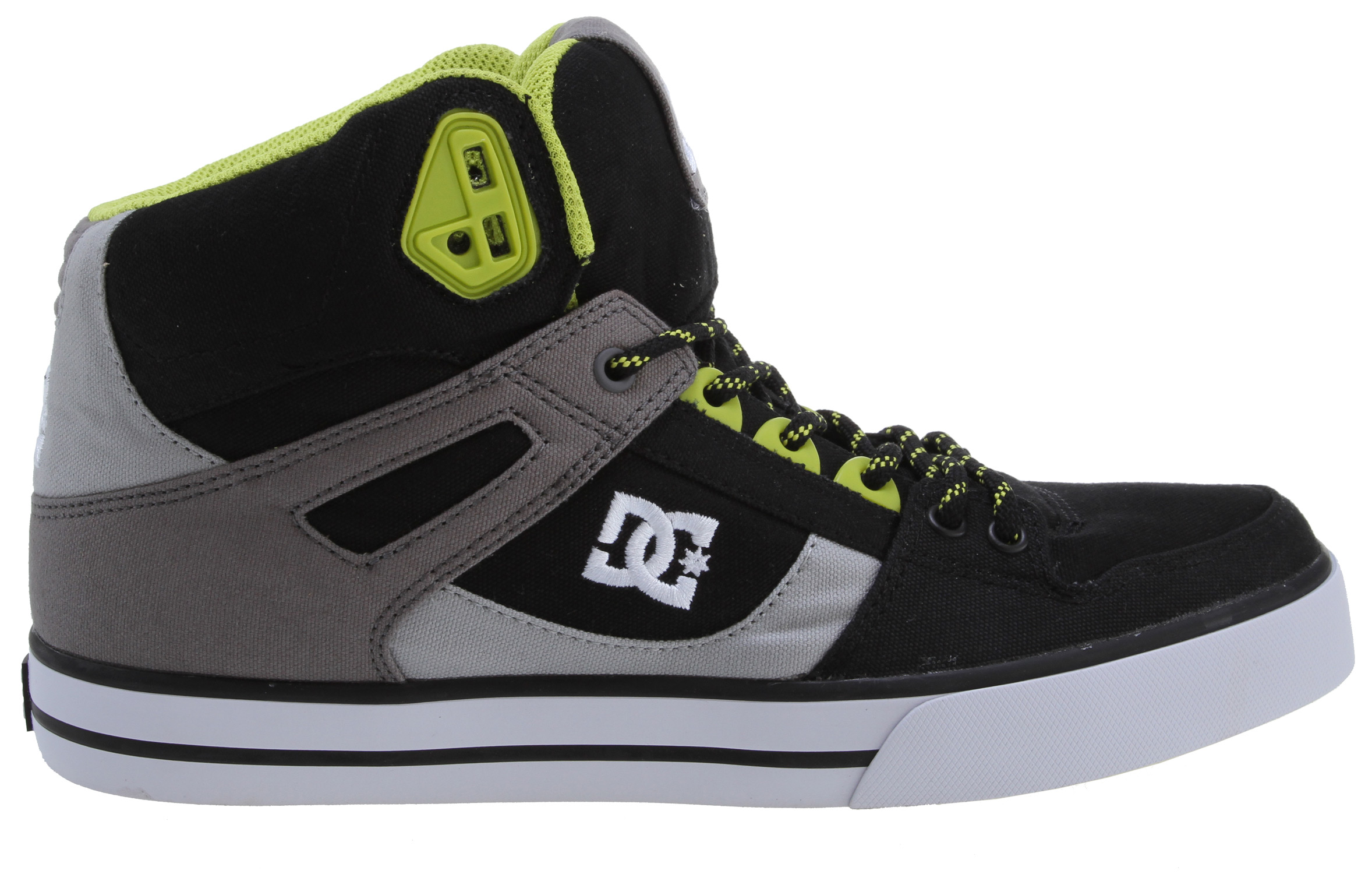 "Skateboard The Spartan gets the canvas treatment, and the result is the Spartan HI WC TX. It has an upper made from canvas, and its tongue and heel collar are foam padded for comfort and support. The upper also features vent holes for breathability, as well as thermoplastic urethane lace eyelets. Key Features of the DC Spartan HI WC T Shoes: All Canvas Upper Foam Padded Tongue And Collar For Comfort And Support Vent Holes For Breathability TPU Eyelets Performance Wrap Cup Sole Construction Abrasion-Resistant Sticky Rubber Outsole With DC's Trademarked ""Pill Pattern"" Tread - $47.95"