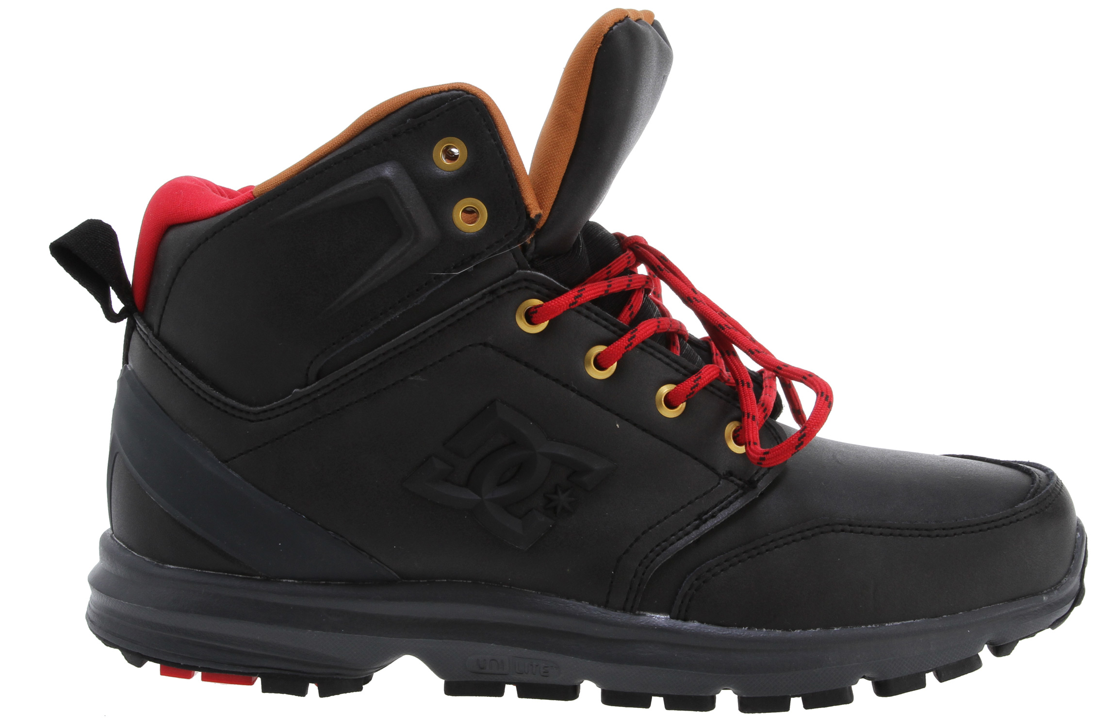 Skateboard The Ranger SE drops in two colorways for holiday 2012, black/true red and black/pirate black. The Ranger SE is a lightweight high-top boot that features a sole constructed using DC's revolutionary UNILITE technology. UNILITE provides long-lasting cushioning and impact protection. The Ranger also features a thermoplastic rubber heel counter, padded area for the Achilles, and a heel pull loop. Key Features of the DC Ranger SE Boots: Lightweight High Top Boot DC's Revolutionary UNILITE Technology Provides Long-Lasting Cushioning & Impact Protection Molded Leather Or Nubuck Upper TPR Heel Counter Metal Eyelets Padded Area For Achilles Tendon Heel Pull Loop Leather Tongue Molded Logo Details + Rugged All-Terrain Rubber Outsole. - $62.95
