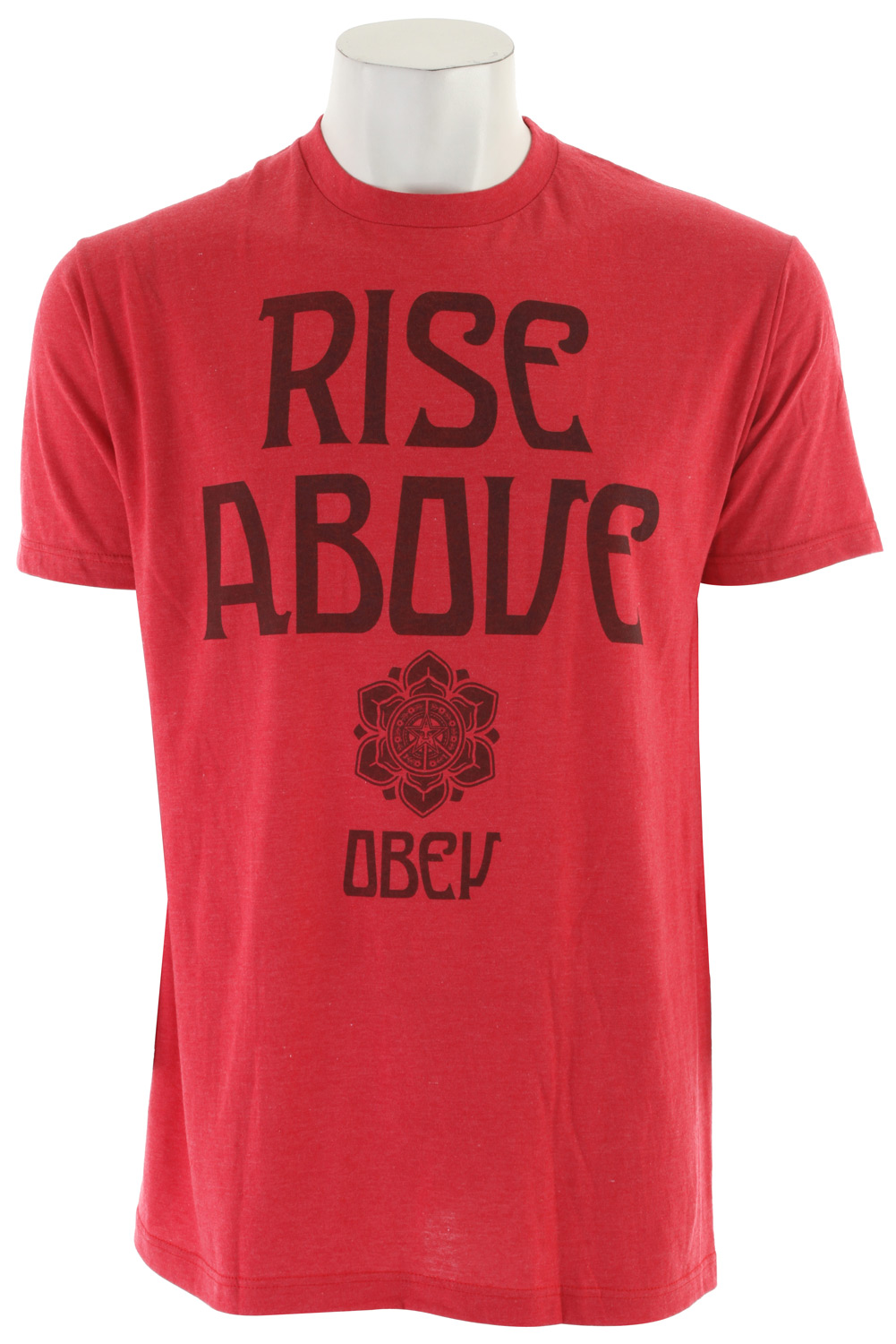 Key Features of the Obey Rise Above 50/50 T-Shirt: Lightweight, slim fit tee with inset rib crew neck Heather pattern 50% cotton/50% polyester - $21.95