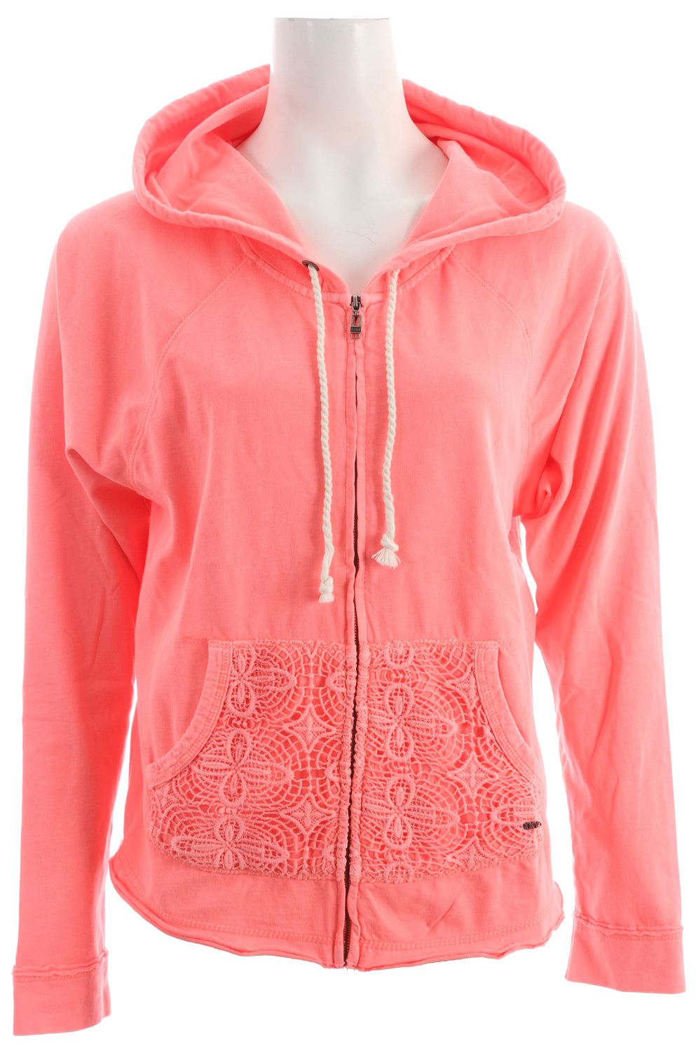 Surf If you want to know what makes the Neon Tide zip-up shine so bright, just have a look at its hood. You'll see sweet crochet trim working its magic to make this sweatshirt extra girlie. Includes a deep kanga pocket at front. 24-inch length. 100% cotton jersey fleece. Imported. Machine wash. - $36.95
