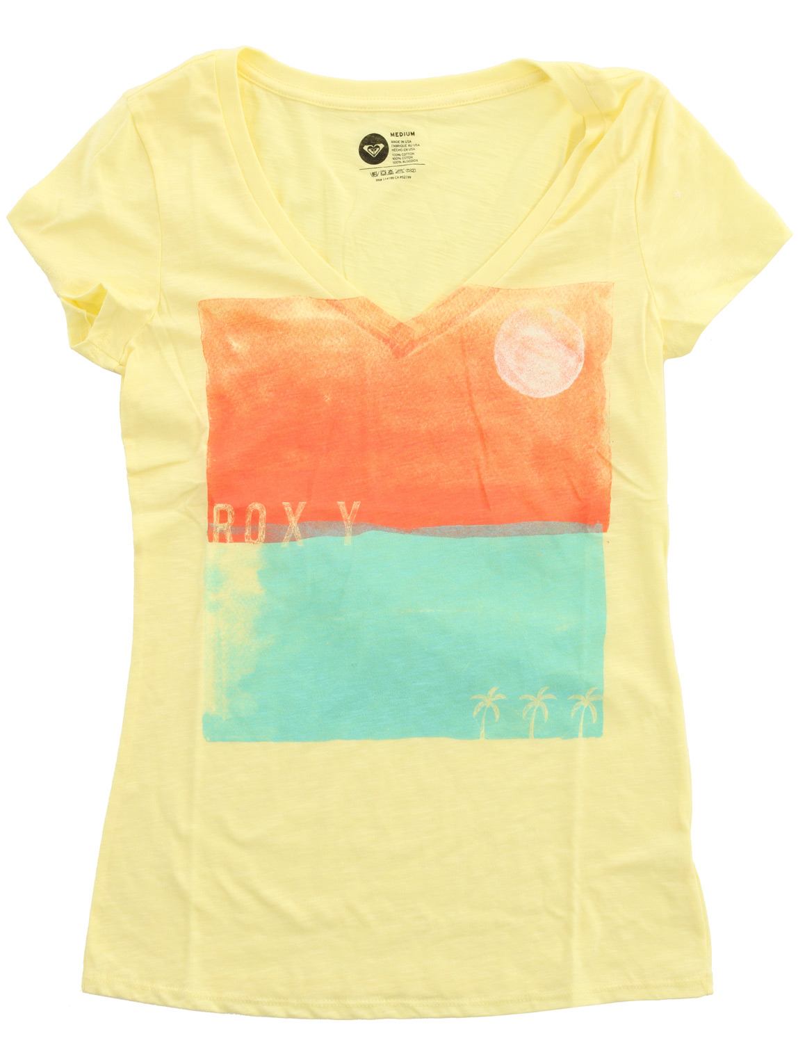 "Surf Key Features of the Roxy Palm Square T-Shirt: 100% cotton slub jersey 40/1's garment dyed short sleeve vneck tee 26"" hps - $18.95"