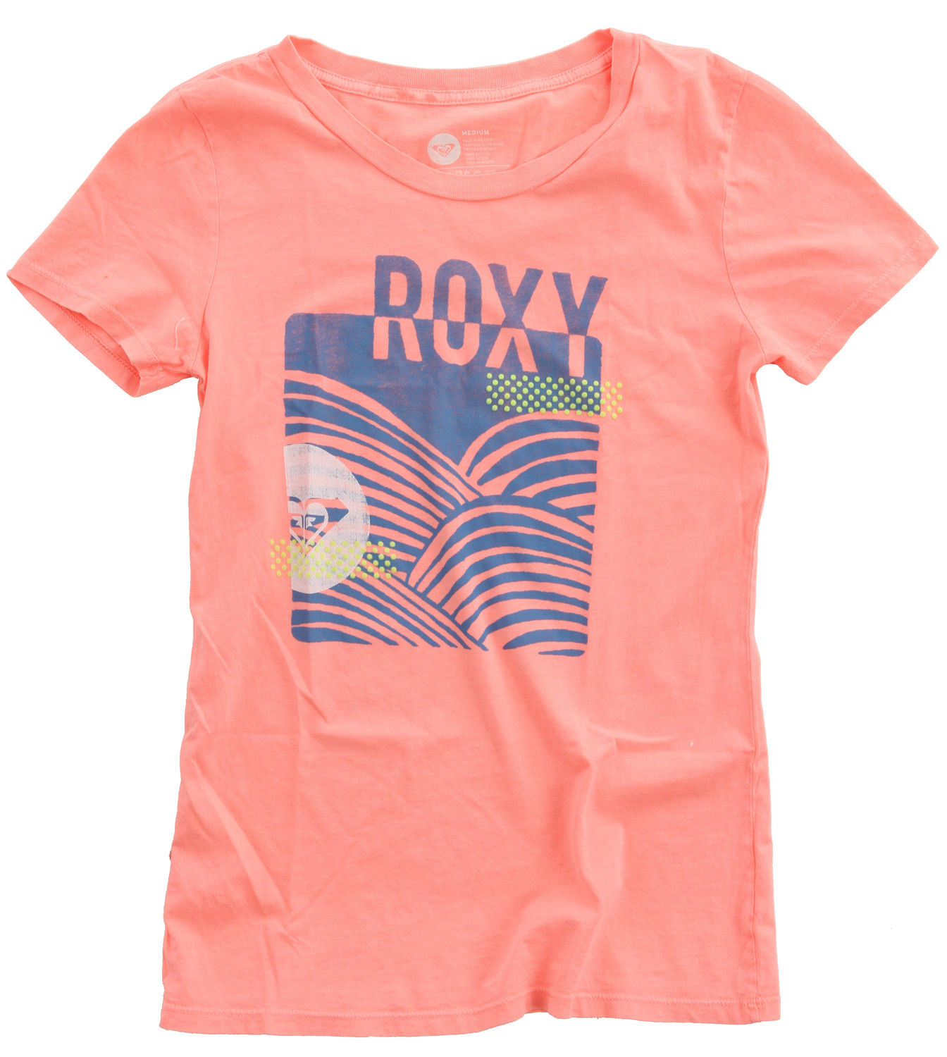 "Surf Key Features of the Roxy Wave On Wave T-Shirt: 100% cotton jersey 40/1's garment dyed short sleeve slim crew neck tee 27"" hps - $14.95"