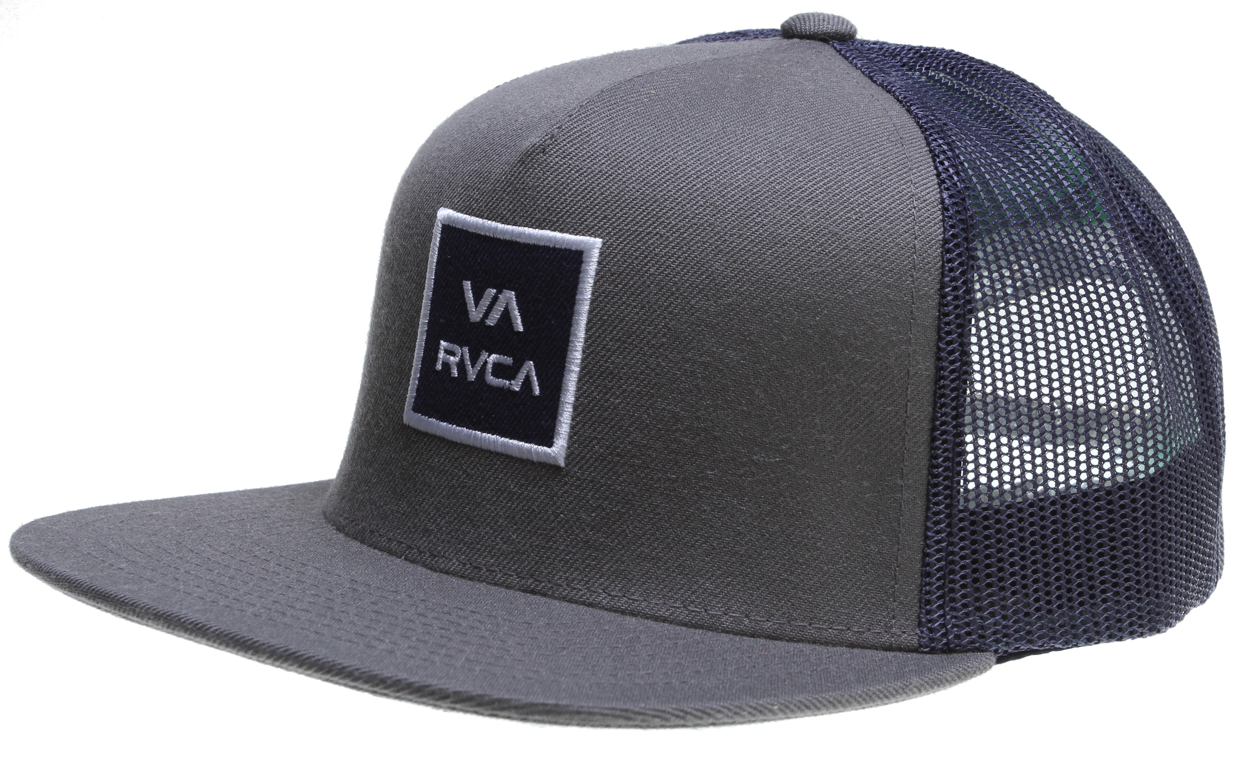 Key Features of the RVCA VA All The Way Trucker Cap: 80% Acrylic/20% Wool with 100% Nylon mesh 5–panel trucker hat VA stacked logo patch at front - $24.00