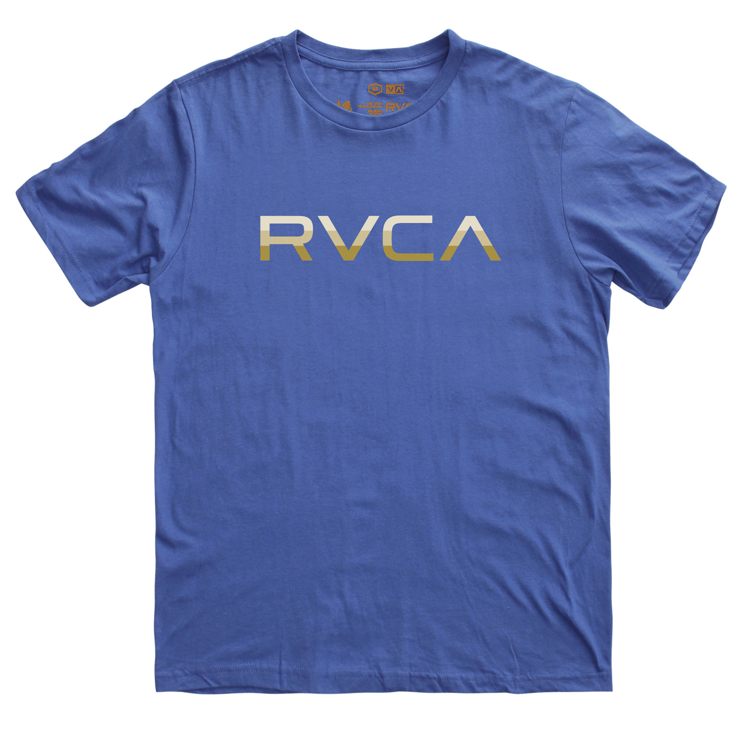 Key Features of the RVCA Tri-Bar Standard T-Shirt: BLK, KGR, PAV, RED, RYL, WHT: 100% Combed Cotton ATH: 90% Cotton/10% Polyester Standard Fit Tee with front print and screened inside neck - $15.95