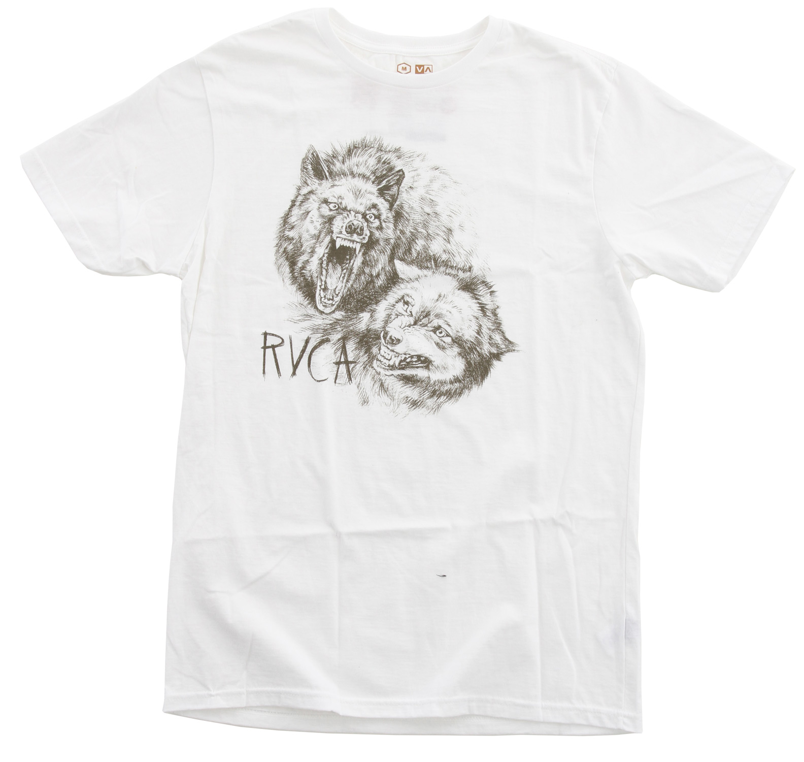 Key Features of the RVCA Wolves Standard T-Shirt: BLK, PAV, RYL, WHT: 100% Combed Cotton Standard Fit Tee with front/back print and screened inside neck - $16.95