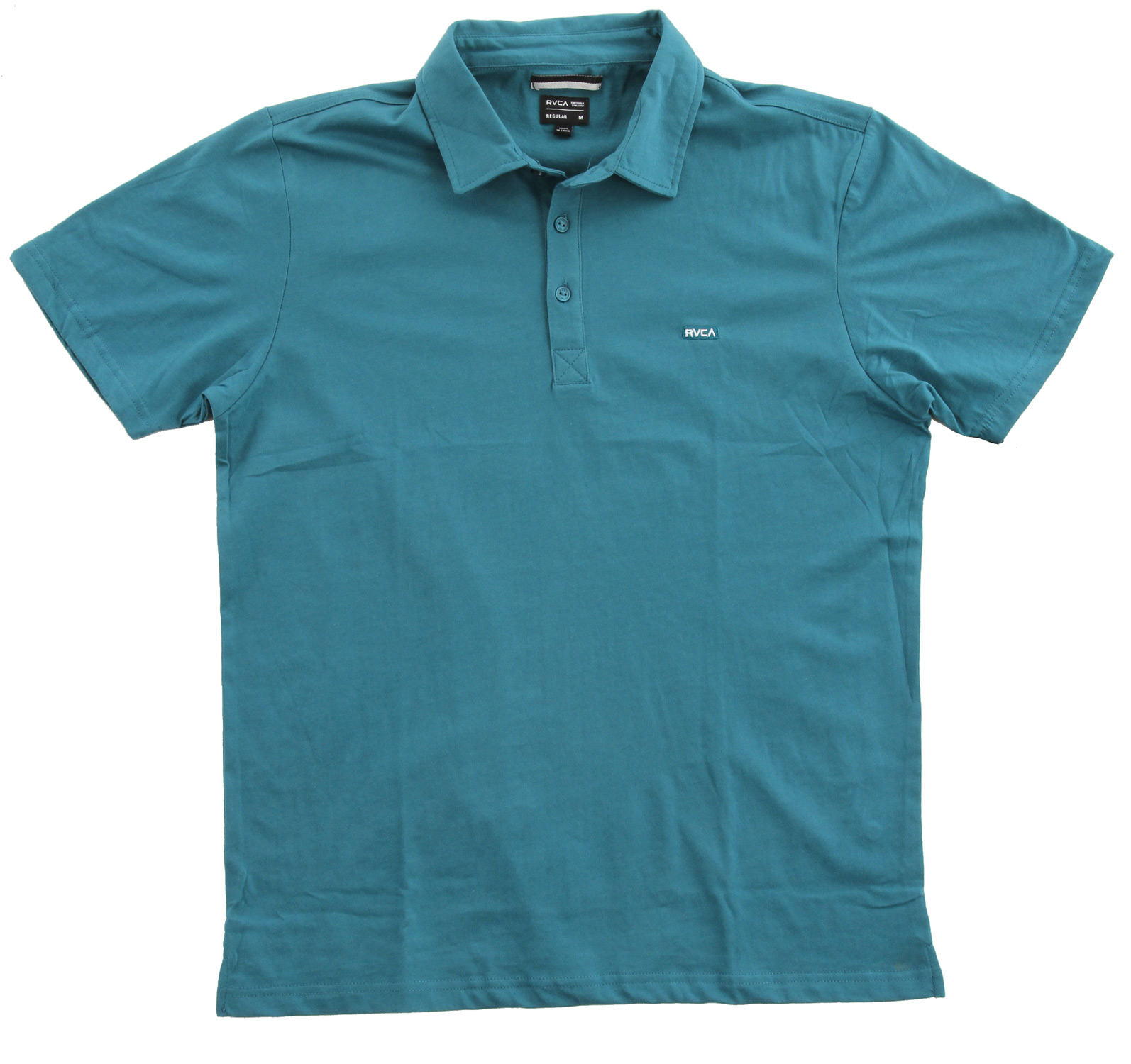 Key Features of the RVCA Sure Thing Polo: Regular Fit - 60% Cotton/40% Polyester Jersey Short sleeve polo RVCA embroidery patch at left chest and side slits at bottom hem - $22.95