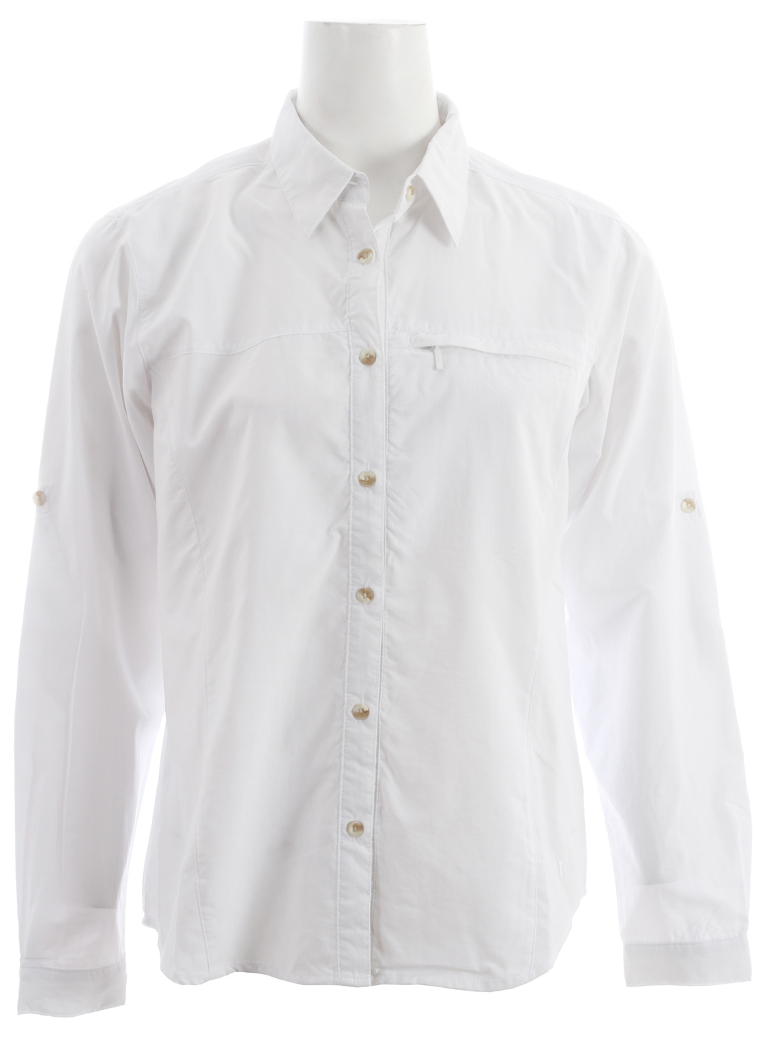 "Entertainment Traveling abroad (or into your own backyard  on sunny summer days calls for the White Sierra Swamp L/S Shirt for women. Complete with roll-up sleeves, a zip-secure chest pocket and wicking properties, this women's technical long sleeve button-down has got you covered. Not to mention, with built-in UPF 30 and Insect Shield bug repellent, this lightweight wonder helps keep you out of the sun and away from bugs, so you can spend all summer outside.Key Features of the White Sierra Swamp L/S Shirt:  TRAVEL CLOTH  100% sanded nylon woven  UPF 30  Wicking  Insect Shield - bug repellent  Roll up sleeve  Zip secure chest pocket  Back venting  Fabric weight: 3oz  Center back length: 25"" - $41.95"