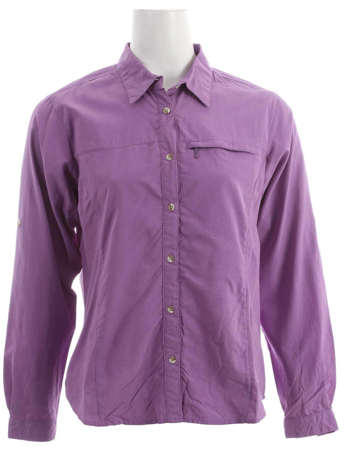 "Entertainment Traveling abroad (or into your own backyard  on sunny summer days calls for the White Sierra Swamp L/S Shirt for women. Complete with roll-up sleeves, a zip-secure chest pocket and wicking properties, this women's technical long sleeve button-down has got you covered. Not to mention, with built-in UPF 30 and Insect Shield bug repellent, this lightweight wonder helps keep you out of the sun and away from bugs, so you can spend all summer outside.Key Features of the White Sierra Swamp L/S Shirt:  TRAVEL CLOTH  100% sanded nylon woven  UPF 30  Wicking  Insect Shield - bug repellent  Roll up sleeve  Zip secure chest pocket  Back venting  Fabric weight: 3oz  Center back length: 25"" - $35.95"