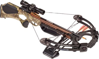 Hunting View the line of Barnett Crossbows products. Take your crossbow hunting experience to the next level with the blazing speed and extreme accuracy of the Barnett Ghost 385. Custom composite limbs and the Crosswire string and cable system power bolts with consistent authority. Step-through riser strengthens the power stoke without placing the cocking device out of reach. Carbonlite riser reduces weight by 43% and shifts the balance point closer to your shoulder, improving off-hand accuracy. Anti-dry-fire mechanism remains in place until the bolt is properly seated. Metal injected-molded trigger sports the tightest tolerances and breaks clean at 3.5 lbs. Speed: 385 fps. Power stroke: 14.5. Draw weight: 185 lbs. Length: 33.75. Weight: 6.9 lbs. (8.29 lbs.with accessories). Camo pattern: High Definition Camo. Ghost 385 Crossbow Package includes: crossbow, illuminated 3x32mm scope, three-arrow quiver, three Headhunter bolts and rope cocking aid. Color: Camo. - $849.99