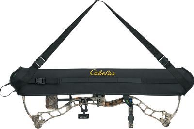 Hunting Cabelas Bow Carrier Sling has neoprene padding for excellent protection of your expensive bow. It completely covers the strings, cables and cams, is weather-resistant, and can be removed quickly and quietly. The adjustable stretch fits most sizes of bows. Removable shoulder strap snaps off instantly. Made in USA. Color\Camo pattern: Black, Outfitter Camo. Color: Black. Type: Slings. - $29.99