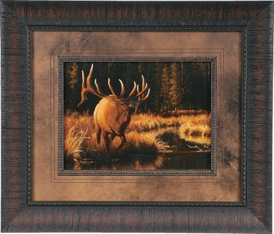 Entertainment Display the work of Americas most widely known wildlife artist and outdoorsman with a Cabelas-exclusiveDick Idol Framed Glass Print. A 2.5 rustic poly-resin frame encases each print. Screened black-core matting with two V-grooves accentuates these one-of-a-kind pieces. Idol is renowned in the art world for his ability to capture the essence of his wildlife subjects. He also has established himself as a master sculptor, creating more than 30 bronze sculptures. Among his works is a three-times life-size monument at the Cabelas store in Owatonna, Minnesota. Made in USA.Dimensions: 20 x 17.Available: Last Light, Buffalo Spirit, Bear Lodge, Who Dares To Challenge. Type: Framed Prints. Style Who Dares T Challeng. - $69.99