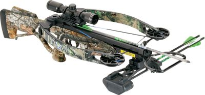 Hunting Even more compact that its brother bow, the Fury, Hortons Havoc 175 crossbow is built with Reverse Draw Technology that delivers on balance, speed and stealthy quietness. CNC-machined riser, aluminum cams and a lightweight barrel boast incredible energy storage and the perfect blend of balance and accuracy. Mounted with a 4 x 32 scope. Rugged Viper X strings withstand harsh field conditions.Made in USA.Speed:318 fps.Power stroke:13.Draw weight:175 lbs.Length:33.Width:16-1/4 relaxed; 10-1/8 loaded.Weight:8.3 lbs. (9.5 lbs. with accessories).Camo pattern:Realtree APGHorton Havoc 175 Package includes:crossbow, RDT cocking sled, 4x32 scope, black five-arrow Arachnid quiver, three 20 carbon arrows, sling and de-cocking arrow. - $899.99