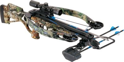 Hunting Fast and unbelievably quiet, Hortons Havoc 150 crossbow is built with Reverse Draw Technology that delivers on balance, speed and stealthy silence. CNC-machined riser, aluminum cams and a lightweight barrel boast incredible energy storage and the perfect blend of balance and accuracy. Mount the included 4x32 scope on the Picatinny rails. Made in USA.Speed:300 fps.Power stroke:13.Draw weight:150 lbs.Length:33.Width:15 relaxed; 8-5/8 loaded.Weight:8.3 lbs.Camo pattern:Realtree APG.Horton Havoc 150 Package includes:crossbow, RDT cocking sled, 4x32 scope, 3-arrow quiver and three 17.5 carbon arrows. - $799.99