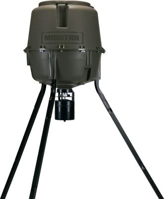 Hunting The Moultrie 30-Gallon Pro-Lock Feeder has a quick-locking design that is fast and easy to setup and takedown without tools. Integrated feed-level estimator helps manage feed. Camera mounts accommodate up to three game cameras. Schedule up to six feedings a day with the programmable timer. Dispense times are customizable between one and 20 seconds. Built-in varmint guard. Battery-level monitor. Power port for optional power source. Uses one 6-volt battery (not included). Weight Capacity: 185 lbs. Fill height: 107. Feeder height: 76. Weight: 33 lbs. - $144.99