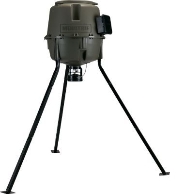 Hunting Easy-to-fill Moultrie 30-Gallon Easy-Lock Feeder with quick-locking design thats fast and easy to set up and takedown without tools. Square-tube legs eliminate the need for push-and-lock poles. Integrated feed-level estimator helps manage feed. Camera mounts accommodate up to three game cameras. Easy-access control box allows you to program up to six feedings a day and adjust dispense times between one and 20 seconds. Built-in varmint guard. Battery-level monitor. Power port for optional power source. Uses one 6-volt battery (not included). Weight Capacity: 185 lbs. Fill height: 67. Feeder height: 40. Weight: 33 lbs. - $149.99