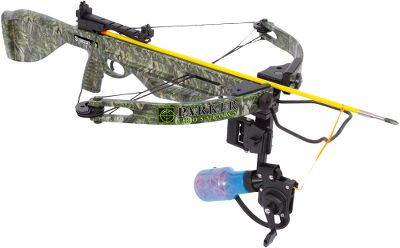 Hunting Parkers StingRay bowfishing crossbow is ideal for both freshwater and saltwater bowfishing. Compact and lightweight at 7.5 lbs., it goes where you go. The adjustable draw weight ranges from 100 to 125 lbs. to allow you to customize it to your bowfishing game. The machined-aluminum riser is paired with a ballistic-polymer barrel and equipped with a G2 Bull-Pup trigger that has little to no trigger travel. Safety features include an anti-dry-fire mechanism and an auto-engage safety, making this bowfishing crossbow great for excited, new-to-the-sport archer-anglers. The best part? No need for special tools to adjust the draw weight, especially while youre out on the water. The StingRay bowfishing crossbow comes ready to go with an open sight, an AMS Retriever Pro bowfishing reel, a bowfishing arrow and mounting hardware. The AMS Retriever Pro reel provides zero drag and excellent line control, and comes with 25 yds. of 200-lb., high-visibility, braided Dacron line and a built-in quiver. The bowfishing arrow is tipped with a Muzzy Gator Getter point.Speed: 150 fps (125-lb. draw weight); 135 fps (100-lb. draw weight).Power stroke: 10.5.Draw weight: 100-125 lbs.Length: 34.25.Width: 23.Weight with accessories: 7.5 lbs.Camo pattern: Fishouflage. - $499.99