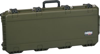 Hunting With military-grade specs and a waterproof outer casing, SKBs small parallel-limb bow case locks your bow safely inside for both transport and storage. The layered-foam interior accommodates an array of parallel-limb compound bows, and the water-jet-cut foam arrow-storage system integrated into the lid of the interior holds up to 12 arrows. Security features include molded-in hinges, stainless steel padlock-protector clips and four trigger-release latches that can be retrofitted with TSA-approved keyed locks. Traveling with this case is a breeze with in-line, skate-style wheels and snap-down rubber-cushioned handle on the side. The case is impact-, UV-, solvent-, corrosion- and mold-resistant. Made in USA. Interior dimensions: 35L x 14W x 5D. Color: OD Green. Color: OD Green. Type: Bow Cases. - $229.99