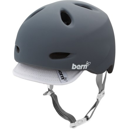 Ski Light and airy but tough as nails, the Bern Berkeley women's multisport helmet is ideal for weekday bike commuting, week nights at the skate park and weekends on the mountain bike trail. Lightweight PVC shell with seamless ZipMold(TM) liquid foam technology provides a high strength-to-weight ratio. Air channels pull air through front vents and allow air to exit through back vents. 2 goggles clips provide a personalized fit; molded eyewear channels provide a comfortable fit. Bern Berkeley helmet meets ASTM F 2040 standard for snow and ski, and CPSC and EN 1078 for bike and skate. Patent-pending, snap-in clip system allows cold- and warm-weather liner integration (liner not included). Closeout. - $26.73